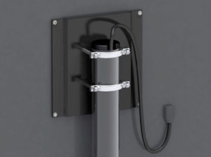 Portamonitor - particolare fissaggio e passaggio cavi